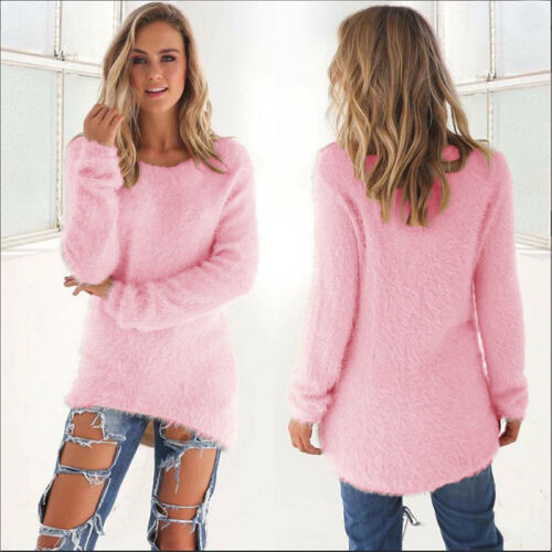 Womens Fluffy Sweatshirt Casual Sweater Long Sleeve Pullover Blouse Jumper Tops 10