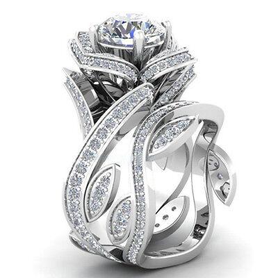 Fashion Women 925 Silver ,Gold Lotus Flower White Topaz Ring Set Wedding Jewelry 2