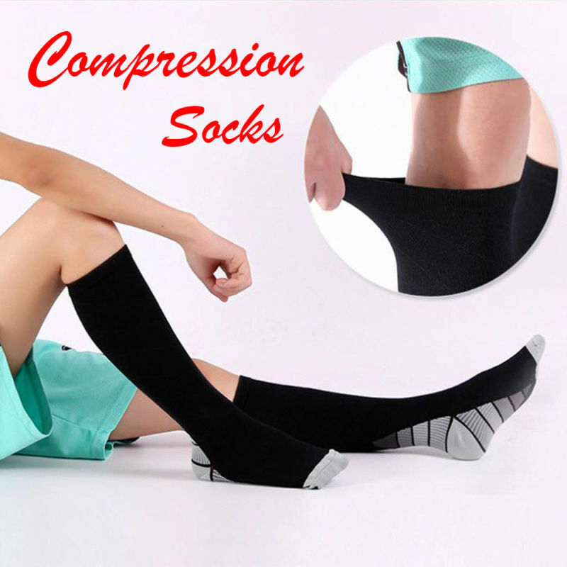 Compression Socks Medical Travel Flight Stocking Running Anti Fatigue Unisex NEW 8