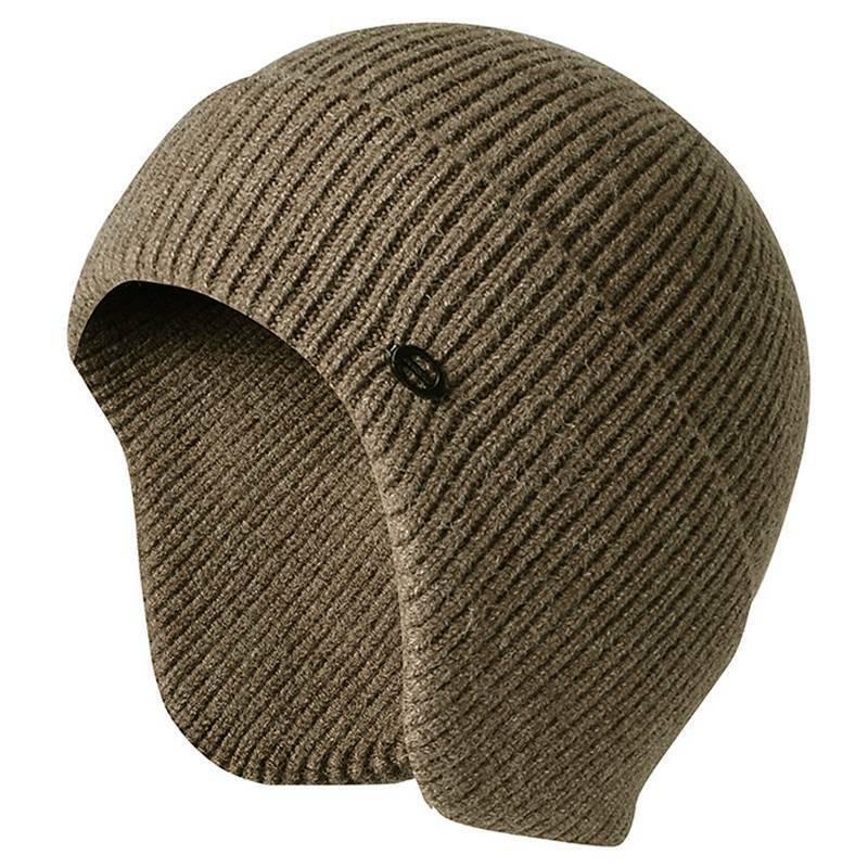 Uomo con Visiera Maglia Caldo Inverno Fodera Pile Cappello Berretto Paraorecchie 6
