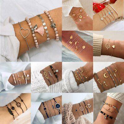 Fashion Women Boho Chain Bracelets Natural Stone Crystal Bangle Jewelry Set Gift 5
