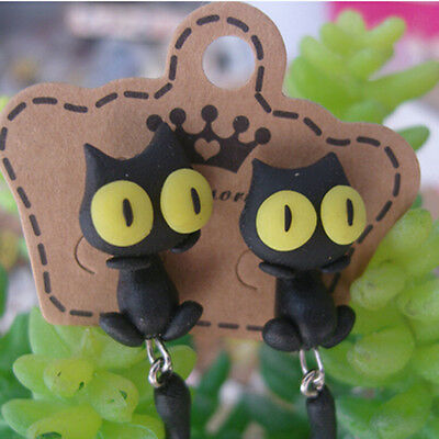 1 Pair Fashion Jewelry Women's 3D Animal Cat Polymer Clay Ear Stud Earring J&S 12