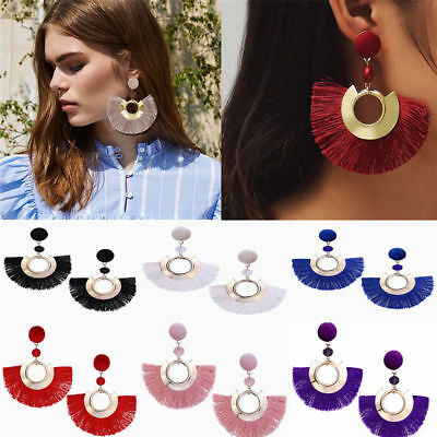 Fashion Women Bohemian Long Tassel Fringe Boho Ear Stud Dangle Earrings Jewelry 7