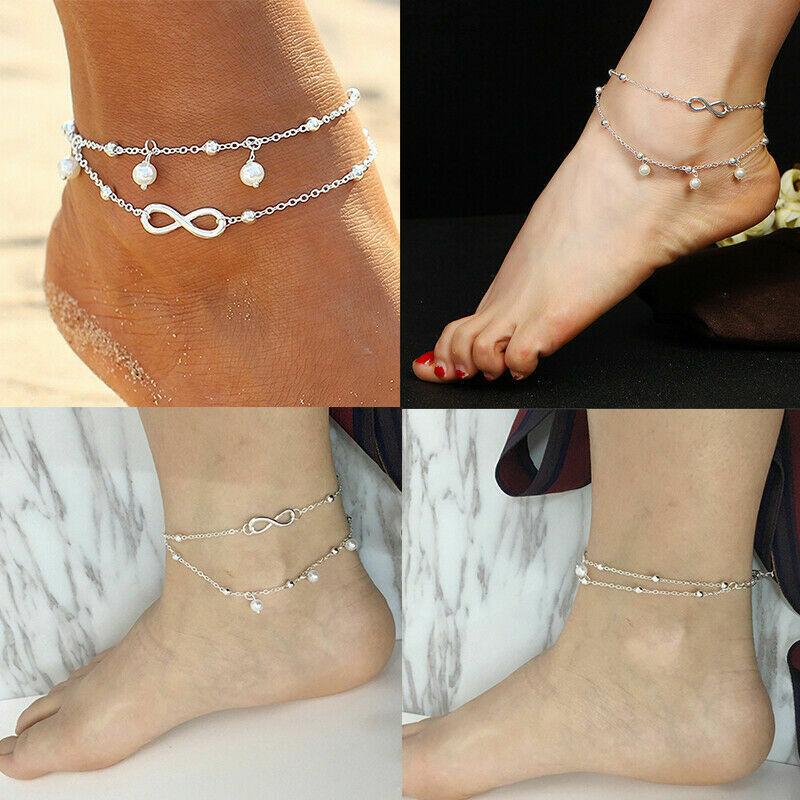 Womens Ankle Bracelet 925 Sterling Silver Anklet Foot Chain Boho Beach Beads UK 2