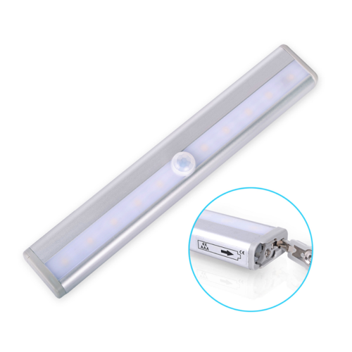 10 LED PIR Motion Sensor LED Night Light Battery Operated with Magnetic Strip 7