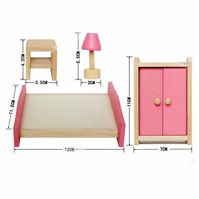 Kid's Children Wooden Furniture Dolls Family House Miniature 6 Room Set Doll Toy 6