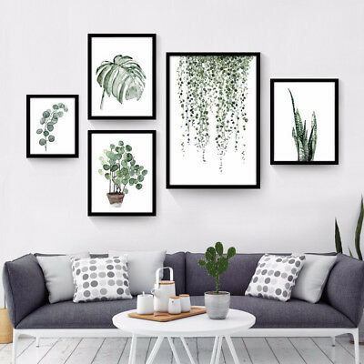 Tropical Plants Leaves Canvas Vintage Poster Wall Art Prints Modern Home Decor 7