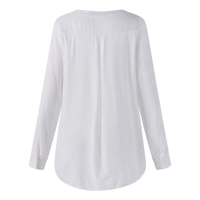 Damen Paillette V-Ausschnitt T Shirt Langarm Blusen Hemd Sommer Tunika Oberteil