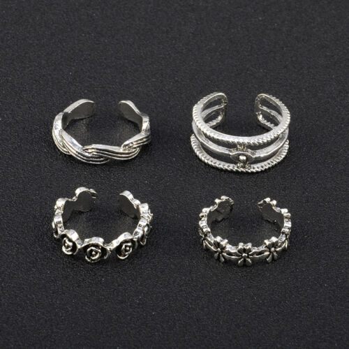 12PCs/set Adjustable Jewelry Retro Silver Open Toe Ring Finger Foot Rings New 7