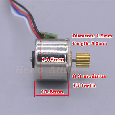 Micro Mini 15MM Stepper Motor 2-Phase 4-Wire  Stepping Motor Copper metal Gear 2