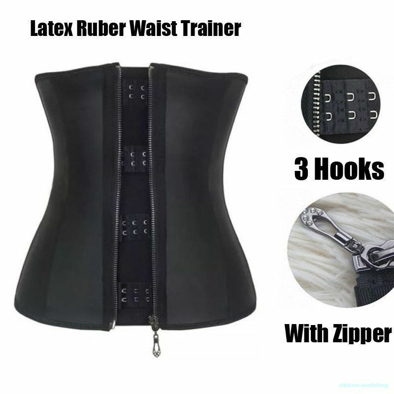 Latex Shaper Hooks Zipper Long Torso Waist Trainer Corset Suit Weight Loss Cos10