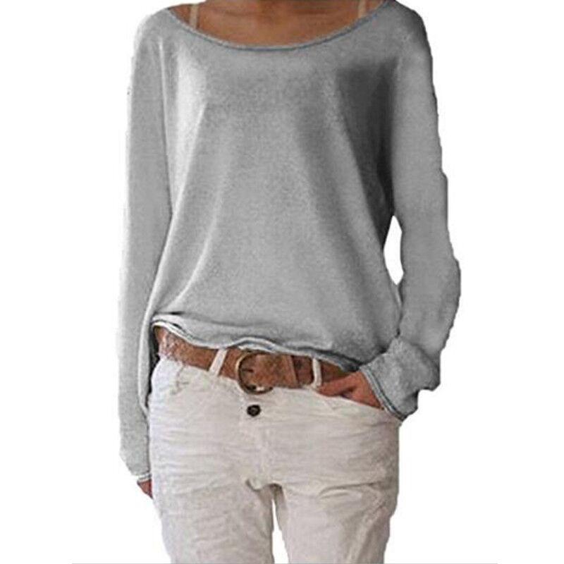Women's Plain Long Sleeve T-Shirt Blouse Ladies Casual Loose Tops Shirts Tee UK 4