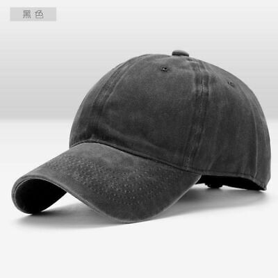 Men Plain Washed Cap Style Cotton Adjustable Baseball Cap Blank Solid Hat Casual 7