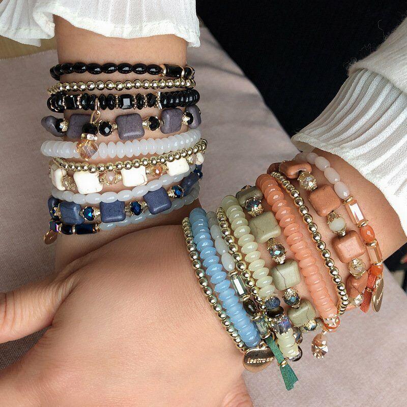 Boho Multilayer Natural Stone Bead Tassel Pendant Chain Bracelet Charm Women Set 12