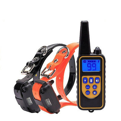Rechargeable Electric Remote Dog Training Shock Collar 800 Yard Waterproof LCD 3