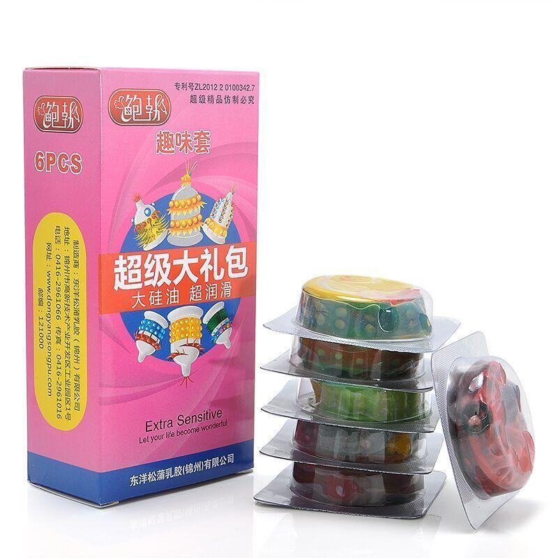 6pcs /Pack Adult Condoms Latex Sensitive Dotted Massage Ribbed Stimulate