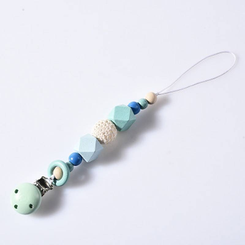 Silicone Baby Teething Dummy Pacifier Clip Bead Infant Soother Nipple Strap Gift 2