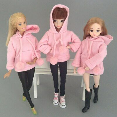 Pink Sweatshirt Doll Clothes Outfits Leather Pants Canvas Shoes For 1/6 Doll Toy 5