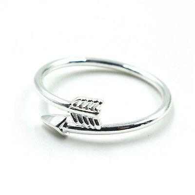 Magníficas mujeres anillos de oro plata ajustable flecha abierta anillo nudillo 7