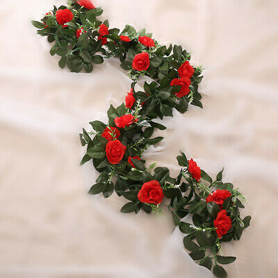 2.5m Artificial Flower Silk Rose Leaf Garland Vine Ivy Home Wedding Garden Deor 5