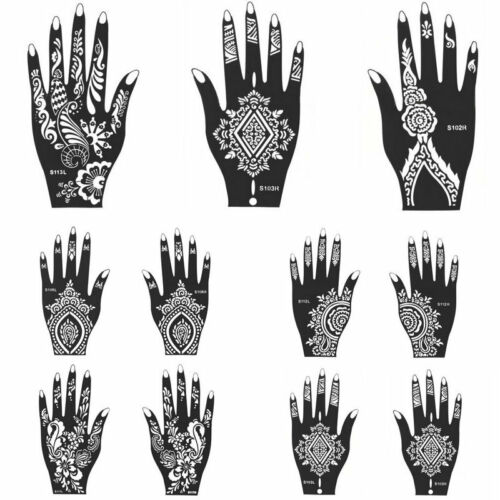 New india henna temporary tattoo stencils for hand leg arm for Henna temporary tattoo stencils