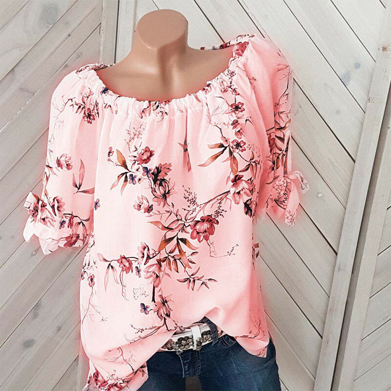 Plus Size Womens Floral Off Shoulder Blouse Ladies Casual Loose Tunic Tops 8-22 7