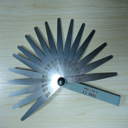 17Blatt Abstandslehre Fühlerlehre Ventillehre Fühllehre 0,02-1,00mm Messwerkzeug