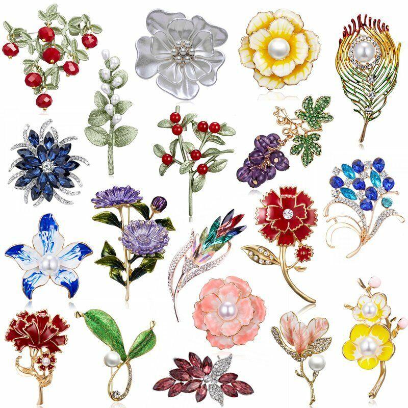 Fashion Rhinestone Crystal Flower Plant Bridal Bouquet Enamel Brooch Pin Jewelry 4
