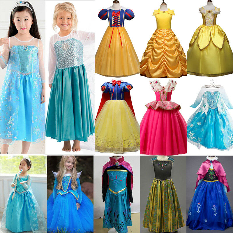 Girls Princess Belle Cinderella Aurora Dress Fancy Party Costume Cosplay Lot 4