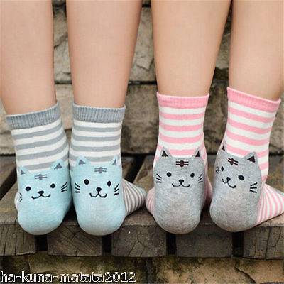 KITTY SOCKS Fun RED Stripe CAT Cotton Ankle SOCKS One Size UK 12-4  New, GB Sale 5