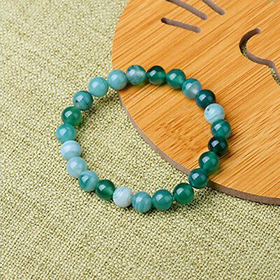 Natural Green Band Agate Repair Crystal Stretch Beaded Bracelet Unisex 3