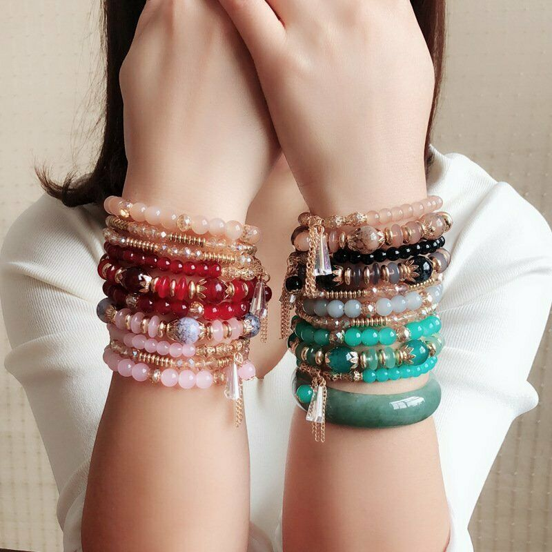 Women Boho Multi-layer Crystal Beaded Beads Bohemia Cuff Bracelets Set Bangle 8