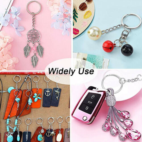 100Pcs Lot Split Keyring Blanks With Link Chains For DIY Craft Key Rings Metal 4