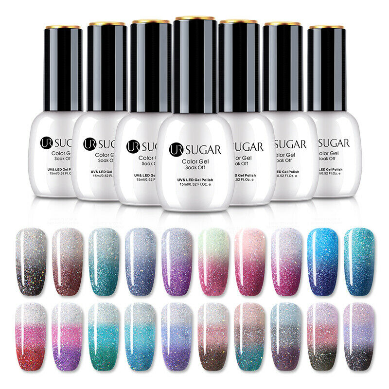 UR SUGAR 15ml Thermal Gel Polish 3-layers Glitter Soak Off UV Gel Nail Varnish 8