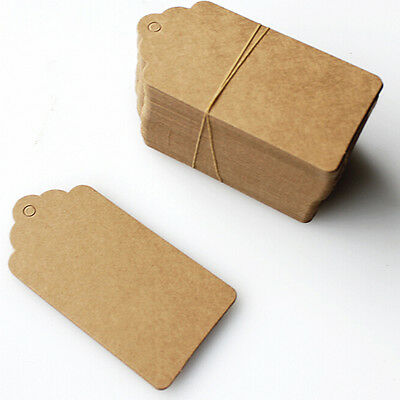 100Pcs BLANK Brown Kraft Paper Hang Tags with String Punch Label Price Cards ZY 6