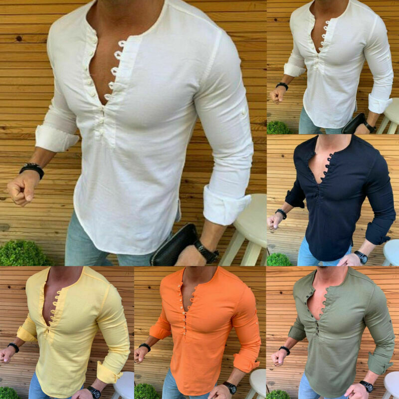 Mens Slim Fit Formal Dress Shirts Long Sleeve Stylish Muscle Tops Blouse T-shirt 3
