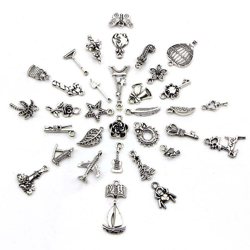 100pcs Bulk Lots Tibetan Silver Mix Pendant Charm Craft Jewelry Finding MakingWG 4