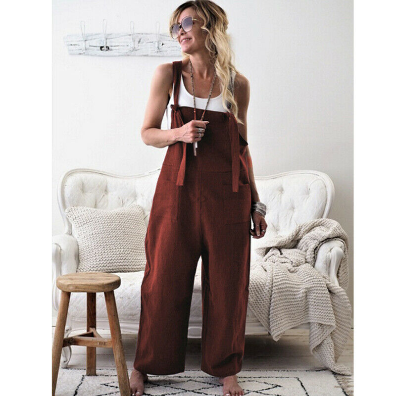 Women Oversized Loose Dungaree Cotton Linen Jumpsuit Playsuit Overalls Trousers 6