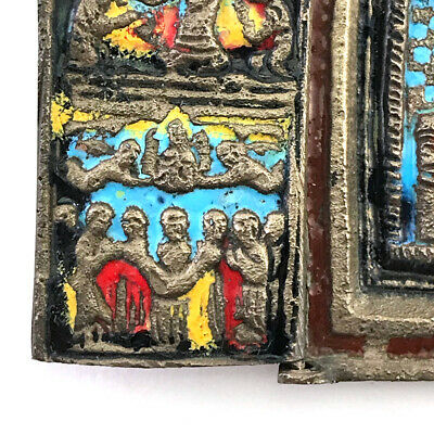 Antique Russian Orthodox Enameled Brass Folding Travel Skladen Icon, 19th C. 3