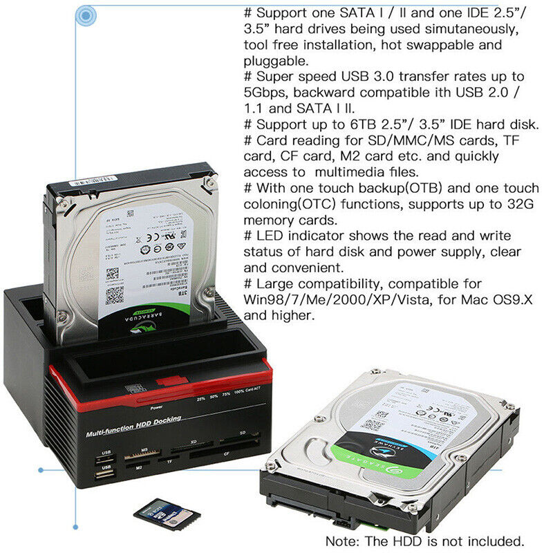 External Triple SATA IDE HDD Docking Station 3.5/'/'//2.5/'/'Hard Drive Card ReaderRF