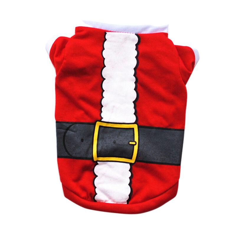 Pet Dog Cat Christmas Santa Clothes Puppy Warm Jumper Costume Outfit Vest UK 8