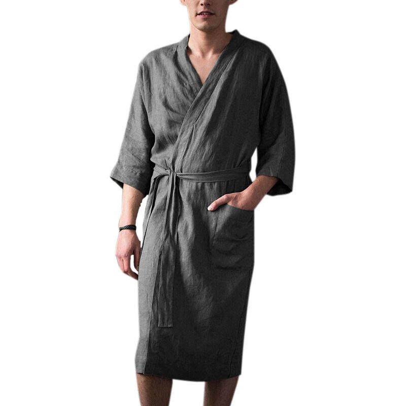 Mens Cotton Linen Pajamas Kimono Bathrobe Robe Dressing Summer Casual Loungewear 6