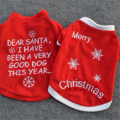 Pet Dog Puppy Santa Shirt Christmas Clothes Costumes Warm Jacket Coat Apparel 6