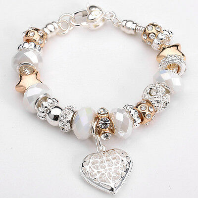 Womens Fashion Jewellery 925 Solid Silver Bangle Peach Heart Pendant Bracelet 2