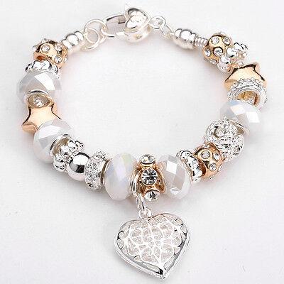 Womens Fashion Jewellery 925 Solid Silver Bangle Peach Heart Pendant Bracelet 2