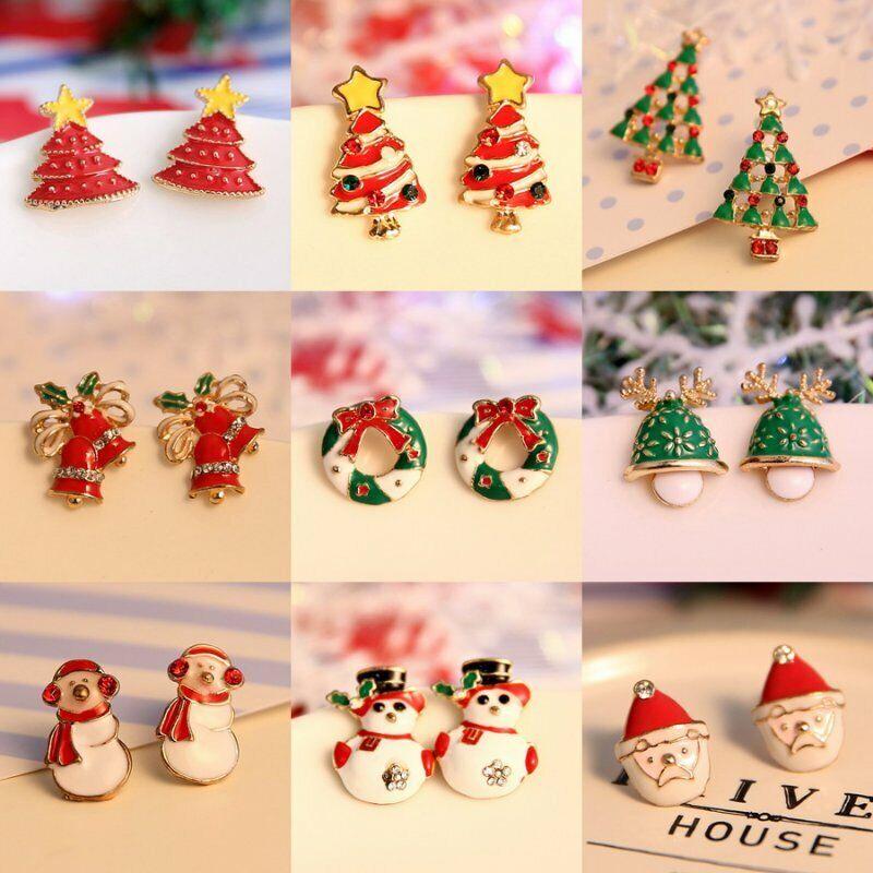 Fashion Women Christmas Earrings Enamel Crystal Drop Dangle Ear Stud Ear Hook 8