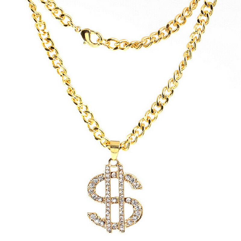 Plaqué or cristal Dollar Sign pendentif collier Gangster proxénète cha~PL