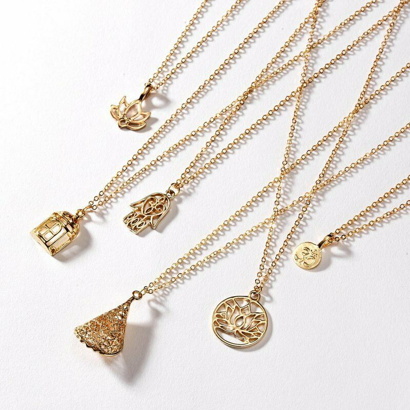 Women Animal Owl Cat Clavicle Short Paper Card Necklace Pendant Gold Chain Gift 3