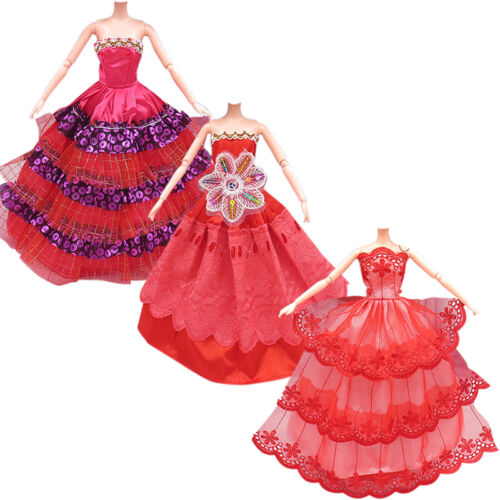 3Pcs Fashion Handmade Dolls Clothes Wedding Grow Party Dresses For Dolls 3