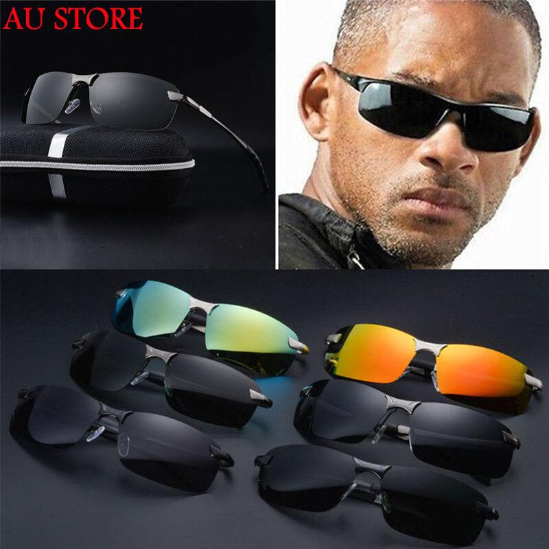 Mens Pro lunettes de soleil polarisées police métal demi cadre lunettes de solei 5